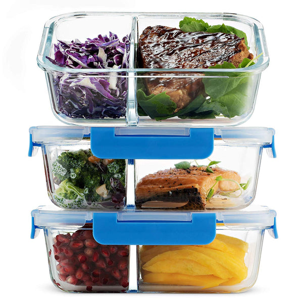 Glass Meal Prep Containers 2-Compartment - 3-Pack 32 Oz. - Finedine | The Best And Beyond
