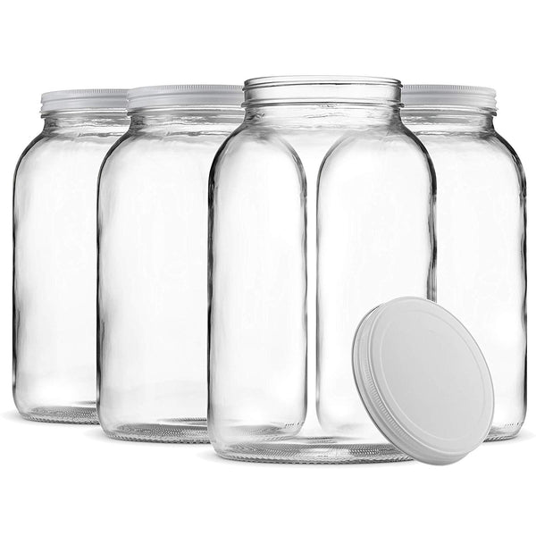 Wide Mouth 1 Gallon Clear Glass Jar Metal Lid 4 Pack - Finedine | The Best And Beyond