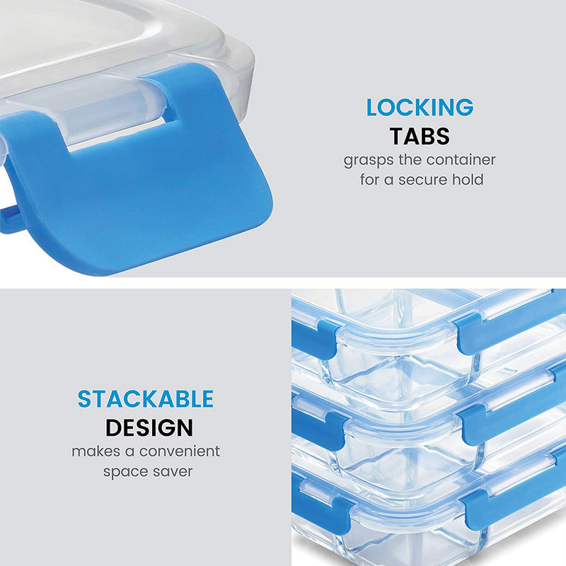 Glass Meal Prep Containers 3-Compartment - 6-Pack 32 Oz. - Finedine | The Best And Beyond