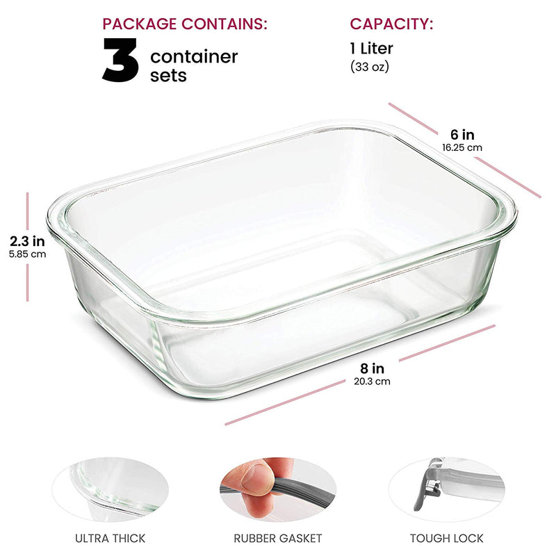 Superior Glass Meal Prep Containers - 6-pack (35oz) - Freezer to Oven Safe Lunch Containers - Finedine | The Best And Beyond