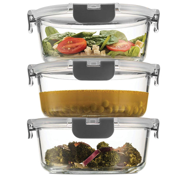 Superior Glass Round Meal Prep Containers -3pk (32oz) Freezer to Oven Safe Lunch Containers - Finedine | The Best And Beyond
