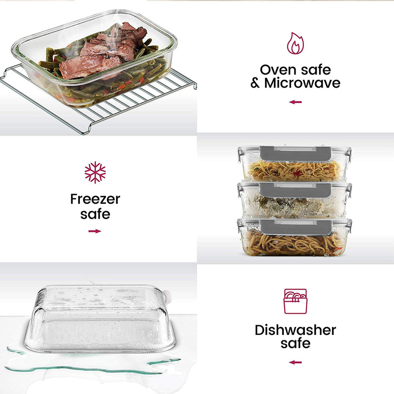 24-Piece Superior Glass Food Storage Containers Set - Freezer to Oven Safe Food Containers - Finedine | The Best And Beyond