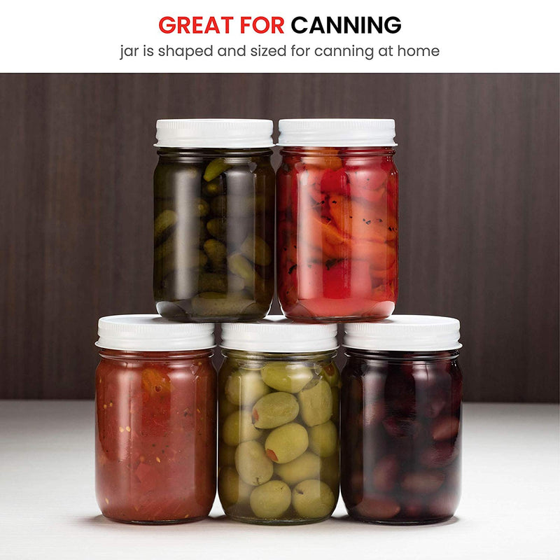 Glass Mason Jars (6 Pack) - 12 Ounce Regular Mouth - Finedine | The Best And Beyond