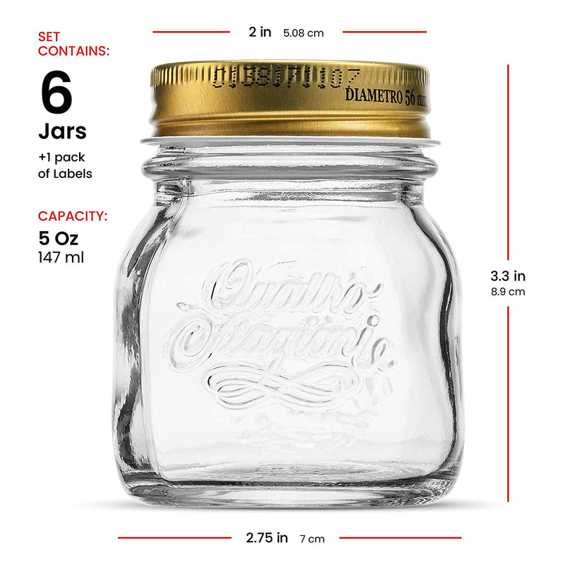 Small Glass Mason Jars 5 Ounce Mini Jars (6-Pack) with Metal Airtight Lid - Finedine | The Best And Beyond