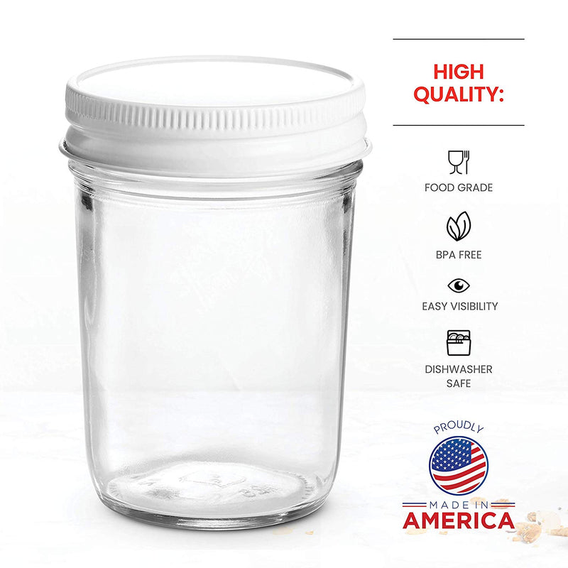 Glass Mason Jars Full Mouth - 8 Ounce - (6 Pack) - Finedine | The Best And Beyond