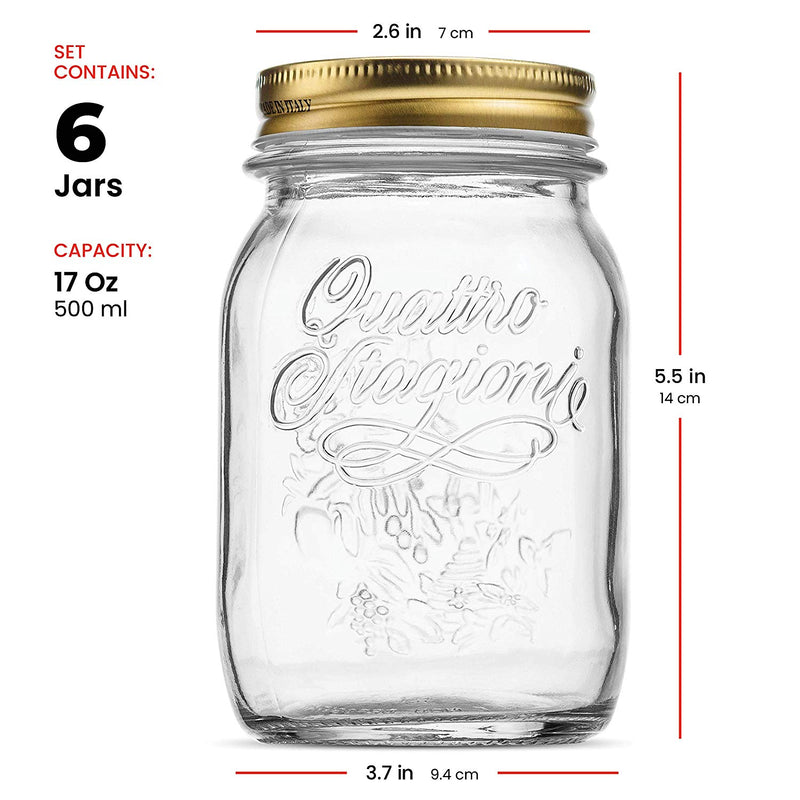 Glass Mason Jars - (17 Ounce) with Airtight Lid for Canning (6 Pack) - Finedine | The Best And Beyond