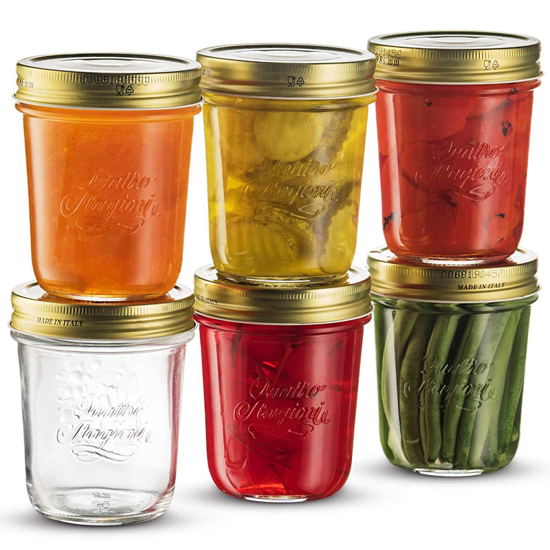 Wide Mouth Mason Jars 10 ¾ Ounce Glass Jar with Metal Airtight Lid (6 Pack) - Finedine | The Best And Beyond