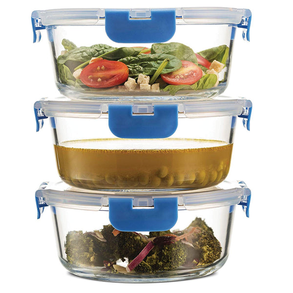 Superior Glass Round Meal Prep Containers -3pk (32oz) - Freezer to Oven Safe Lunch Containers - Finedine | The Best And Beyond