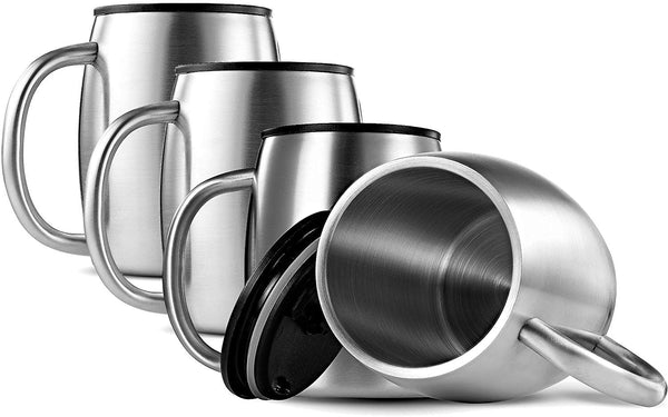 Double Wall 18/8 Stainless Steel Coffee Mugs with Spill Resistant Lids 14 Oz. (Set of 4) - Finedine | The Best And Beyond