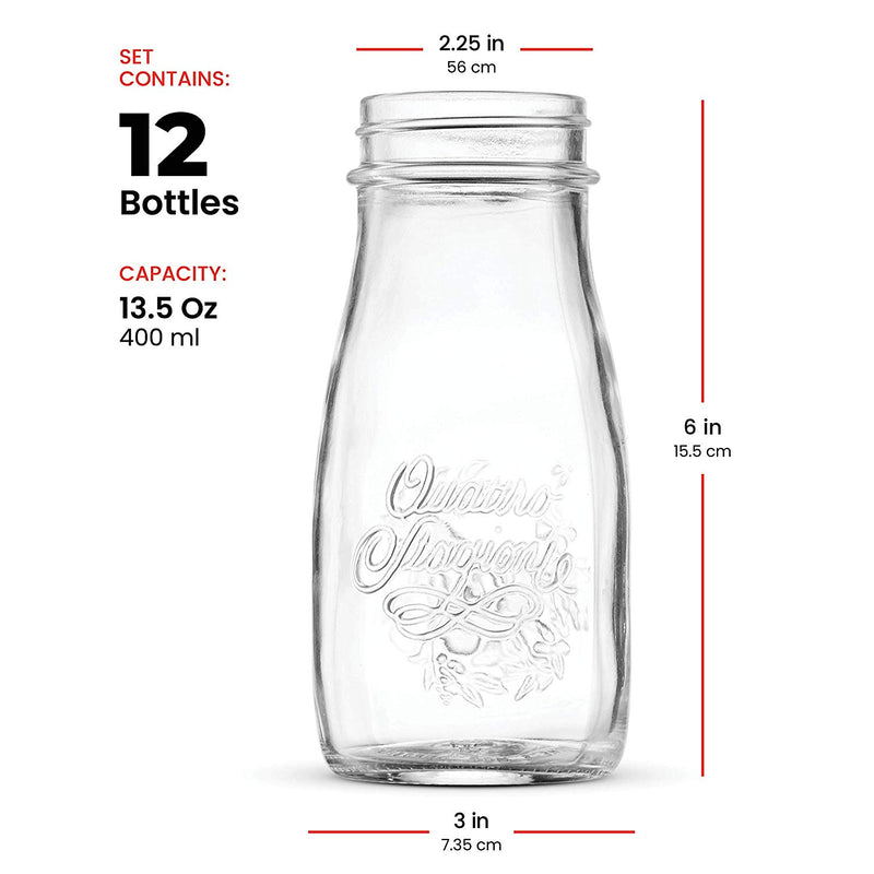 Glass Drinking jar bottle 13½ Ounce with Gold Metal Airtight Lids (12 Pack) - Finedine | The Best And Beyond
