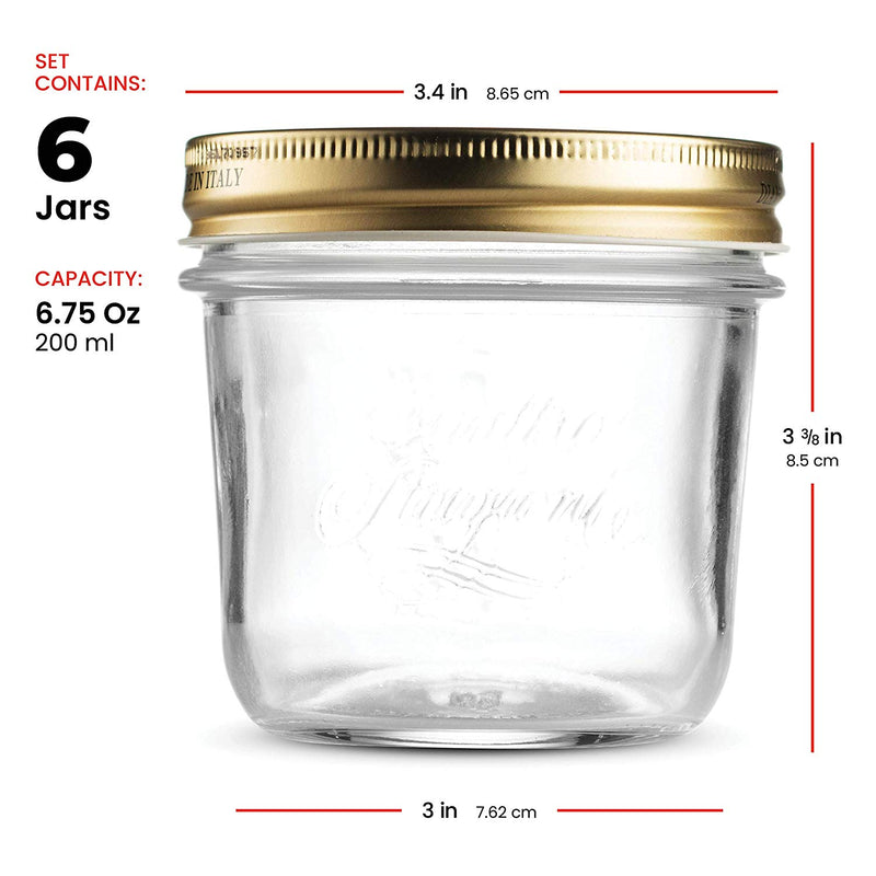 Wide Mouth Mason Jars 6 ¾ Ounce Glass Jar (6 Pack) with Metal Airtight Lid - Finedine | The Best And Beyond