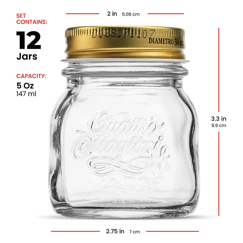Small Glass Mason Jars 5 Ounce Mini Jars (12-Pack) with Metal Airtight Lid - Finedine | The Best And Beyond