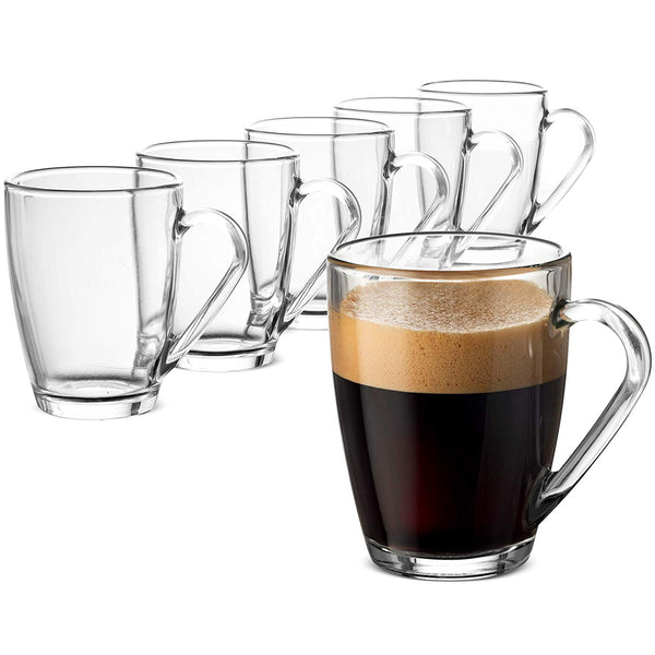 Glass Coffee Mug set - 10 ¾ Ounce (6 Pack) - Finedine | The Best And Beyond