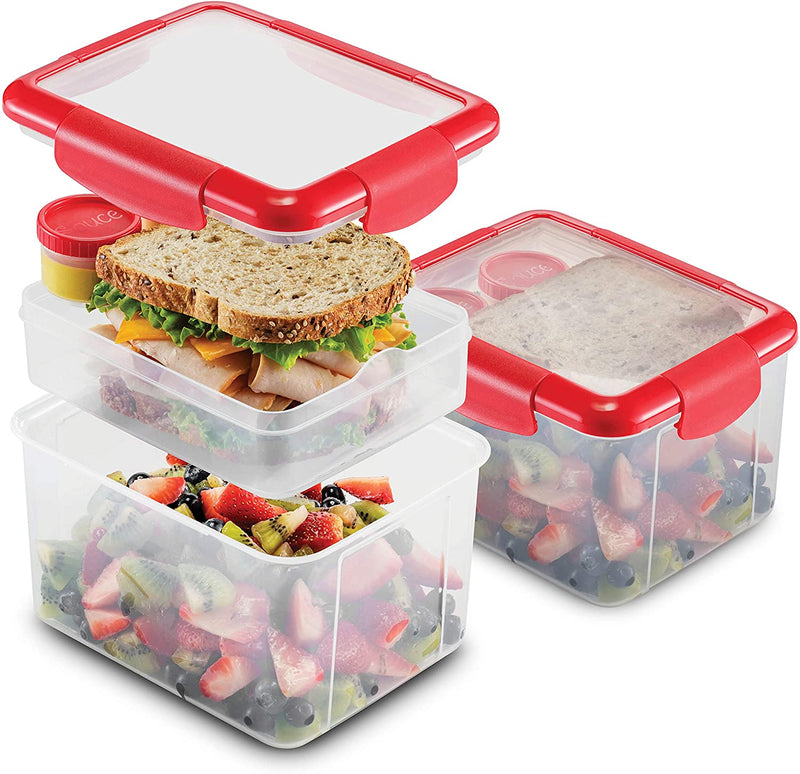 Dual Compartment Lunch Containers 2 Set- BPA-Free Airtight Bento Box -Sandwich Container & 2 Salad Dressing Container To Go - Microwave and Dishwasher Safe Lunch Containers, Perfect Size for Lunch Box