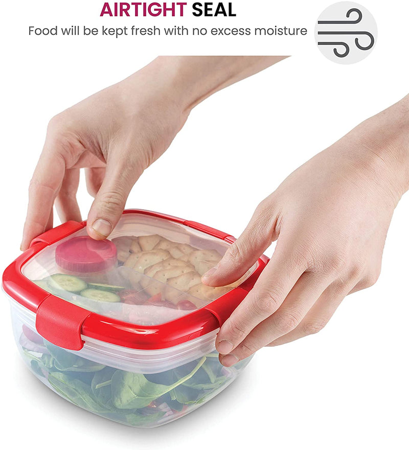 Dual Compartment Lunch Container Set 2 pack - BPA-Free Airtight Bento Box - Cutlery Set With Salad Dressing Container To Go - Microwave and Dishwasher Safe Lunch Containers, Perfect Size for Lunch Box