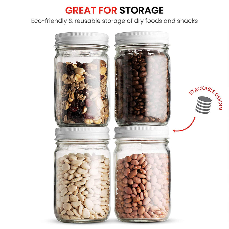 Glass Mason Jars (12 Pack) - 12 Ounce Regular Mouth - Finedine | The Best And Beyond