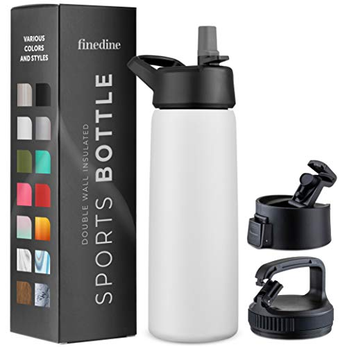 White Stainless Steel 26 Oz. Water Bottle with 3 Lids; Vacuum Insulated Tumbler, Hot 'n Cold