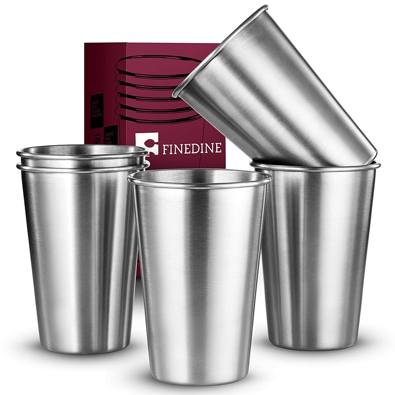 Premium Grade Stainless Steel Pint Cups Water Tumblers 16 oz. (5 Piece) - Finedine | The Best And Beyond