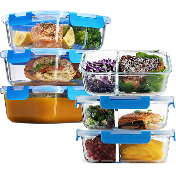 Glass Meal Prep Containers 2-Compartment - 6-Pack 32 Oz. - Finedine | The Best And Beyond