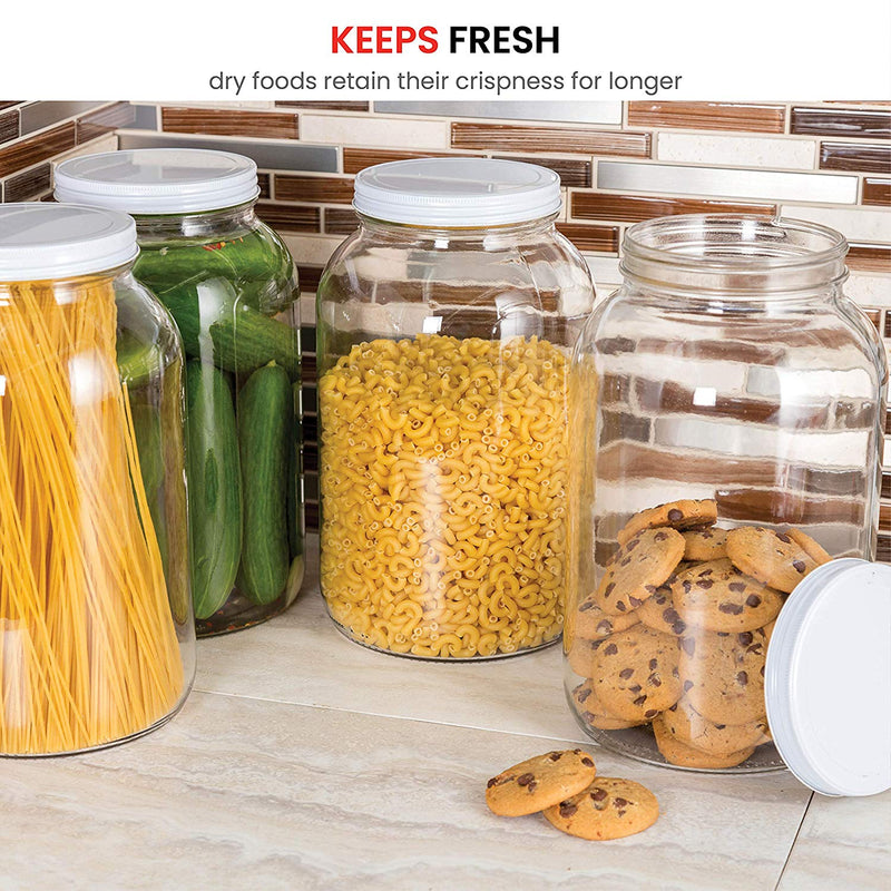 1-Gallon Glass Jar Wide Mouth with Airtight Metal Lid - Finedine | The Best And Beyond