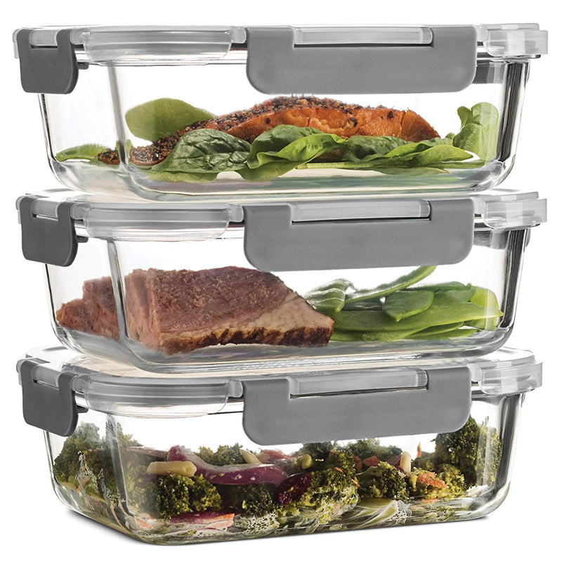 Superior Glass Meal Prep Containers - 3-pack (35oz) - Finedine | The Best And Beyond