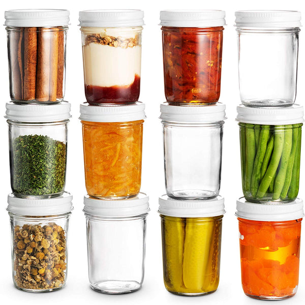 Glass Mason Jars Full Mouth - 8 Ounce - (12 Pack) - Finedine | The Best And Beyond