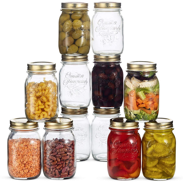 Glass Mason Jars - 12 Pack - (17 Ounce) with Airtight Lid for Canning (12 Pack) - Finedine | The Best And Beyond