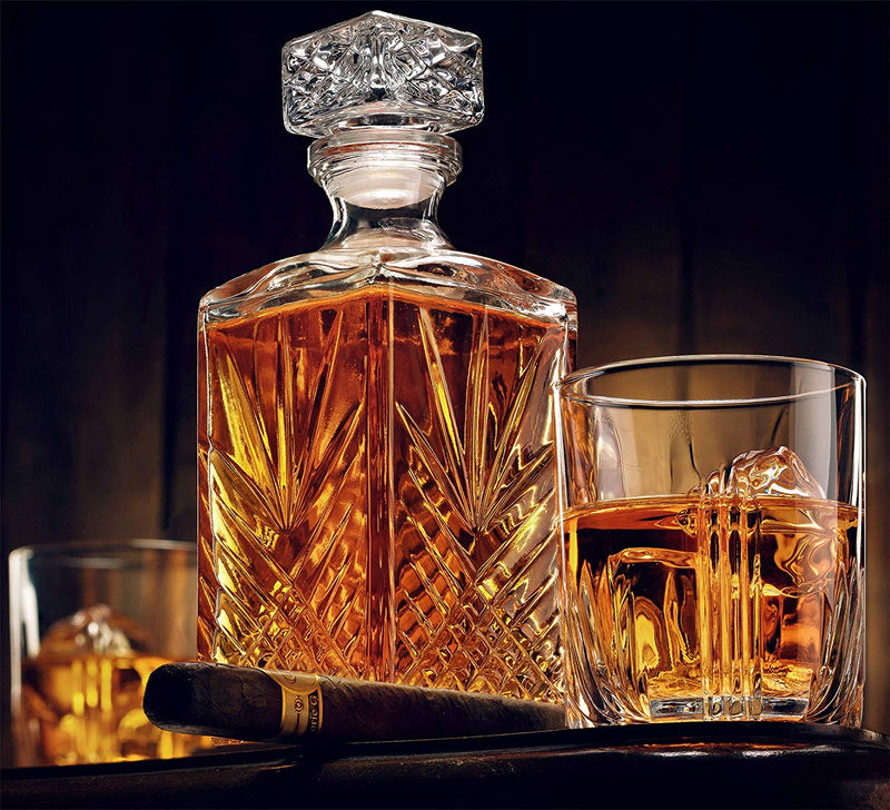 Glass Whiskey Decanter with Airtight Geometric Stopper,  33.75 oz - Finedine | The Best And Beyond