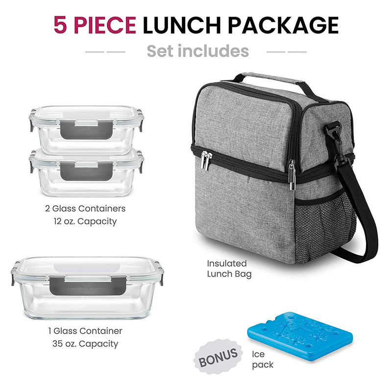 Dual Compartment Insulated Lunch Bag with Glass Meal Prep Containers - 5-Piece Lunch Box with Containers & Ice Pack - Finedine | The Best And Beyond