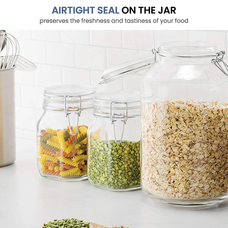 Glass Fido Jars - 33.¾ Ounce - 1 Liter - with Airtight Lid (1 Jar) - Finedine | The Best And Beyond