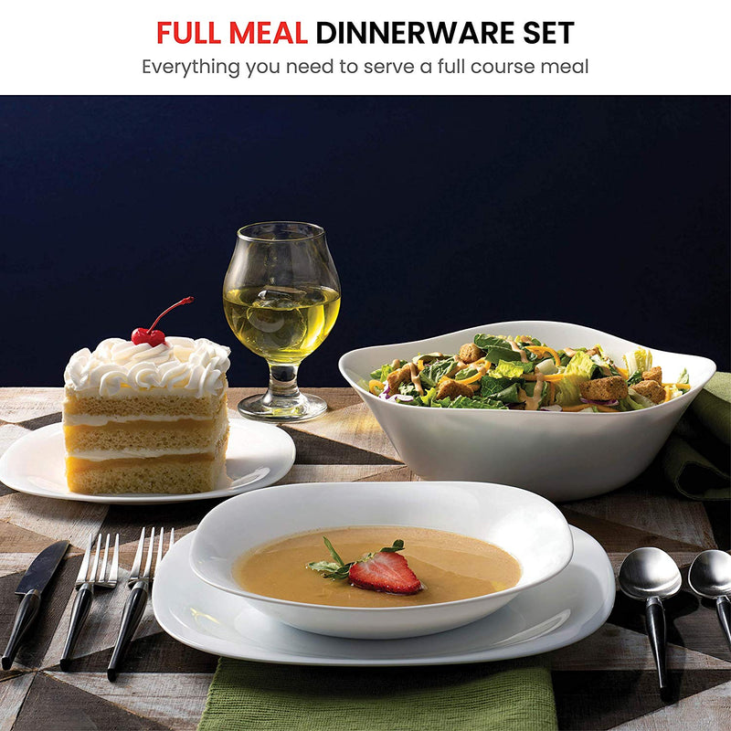 "19 Piece Dinnerware set Serving for 6, Includes 6x7.¾"" Dessert Plates 6x8.¾"" Soup Bowls 6x10.¾"" Dinner Plates and 1 Large Salad Bowl - Finedine 