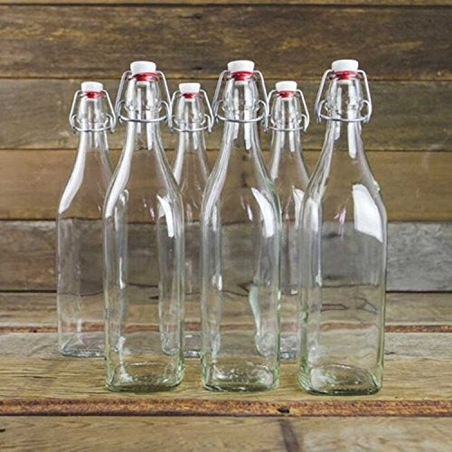 Clear Glass Bottle With Stopper - 33 3/4 oz [Set of 4] - Finedine | The Best And Beyond