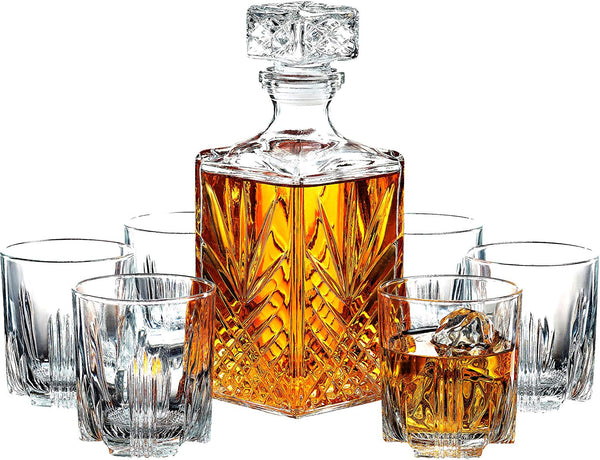 7-Piece Italian Crafted Glass Decanter & Whisky Glasses Set - Finedine | The Best And Beyond
