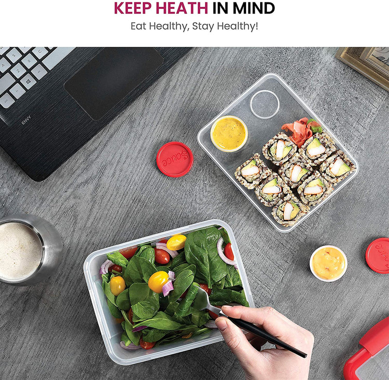 Dual Compartment Lunch Container Set - BPA-Free Airtight Bento Box - Sandwich Container & 2 Salad Dressing Container To Go - Microwave and Dishwasher Safe Lunch Containers, Perfect Size for Lunch Box