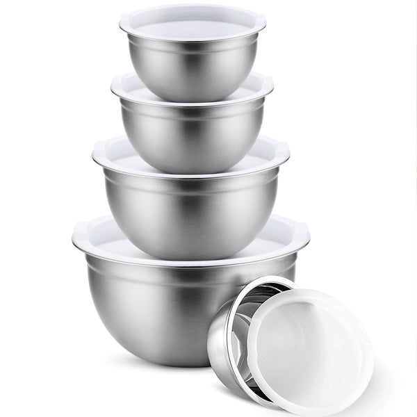 Premium Stainless Steel Mixing Bowls with Airtight Lids (Set of 5) - Finedine | The Best And Beyond