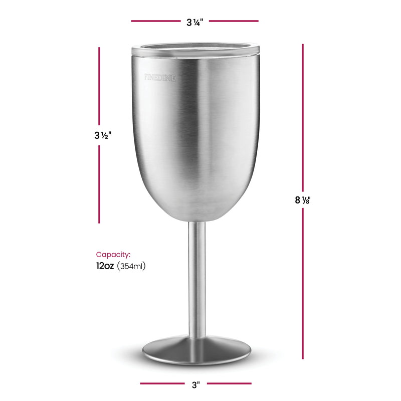 FineDine Premium Grade 18/8 Stainless Steel Wine Glasses 12 Oz. (Set of 2) - Finedine | The Best And Beyond