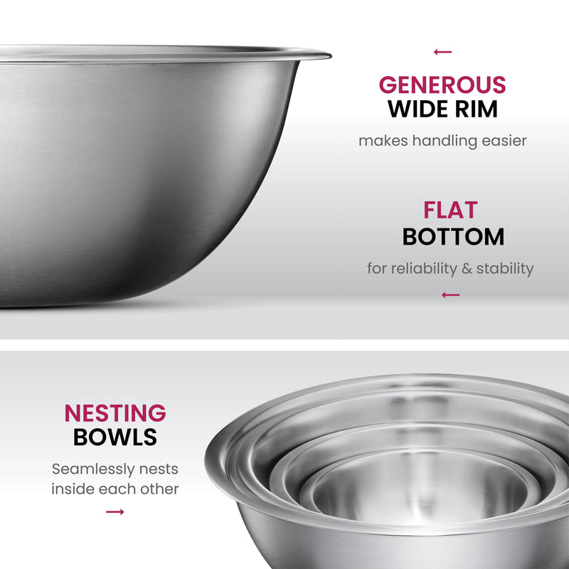 Premium Stainless Steel Mixing Bowls (Set of 5) - Finedine | The Best And Beyond