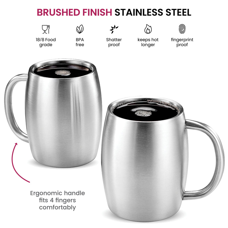 Insulated Stainless Steel Coffee Mug with Lid and Handle (2 Pk) 14 oz. - Finedine | The Best And Beyond