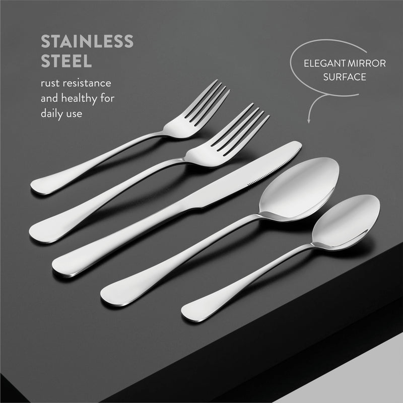 20-Piece Stainless Steel Silverware Set - Attractive Mirror Finished Flatware Set - Serving for 4, Classic Cutlery set for Home/Restaurant