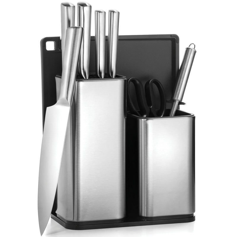 10 Piece Kitchen Knife and Utensil Holder set - 6 Stainless Steel Knives, Knife Sharpener with Knife Block- Kitchen Scissor - Cutting Board & Knife set Holder - Finedine | The Best And Beyond
