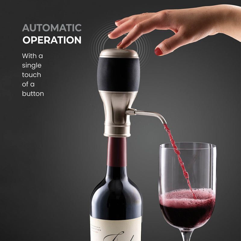 Exquisite Electric Wine Aerator - One Touch operated Wine Dispenser - Wine Pourer With Expandable Stainless steel Straw