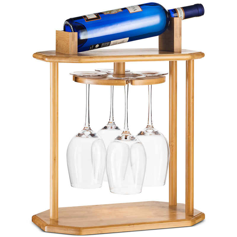 Bamboo Wine Glass Rack Hanging Over 4 Wine Glasses 1 Bottle holder - Finedine | The Best And Beyond