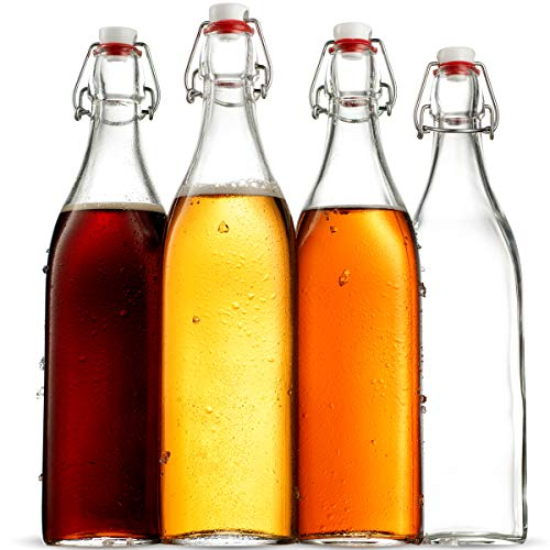 Swing Top Clear Glass SQUARE Bottle With Airtight Stopper - 33.75 oz (4 Pack) - Finedine | The Best And Beyond