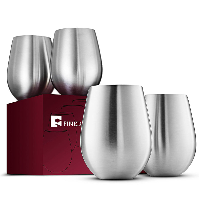 Stainless Steel Wine Glasses - Set of 4 Large & Elegant 18 Oz. - Finedine | The Best And Beyond
