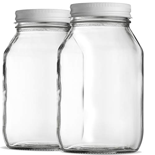 Glass Mason Jars 32 Ounce 1 Quart Regular Mouth,  (2 Pack) - Finedine | The Best And Beyond