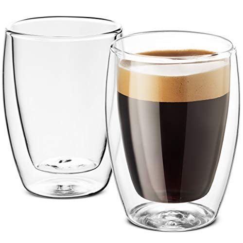 Double Walled Glass Coffee Mugs - 9 Ounce (2 Pack) - Finedine | The Best And Beyond