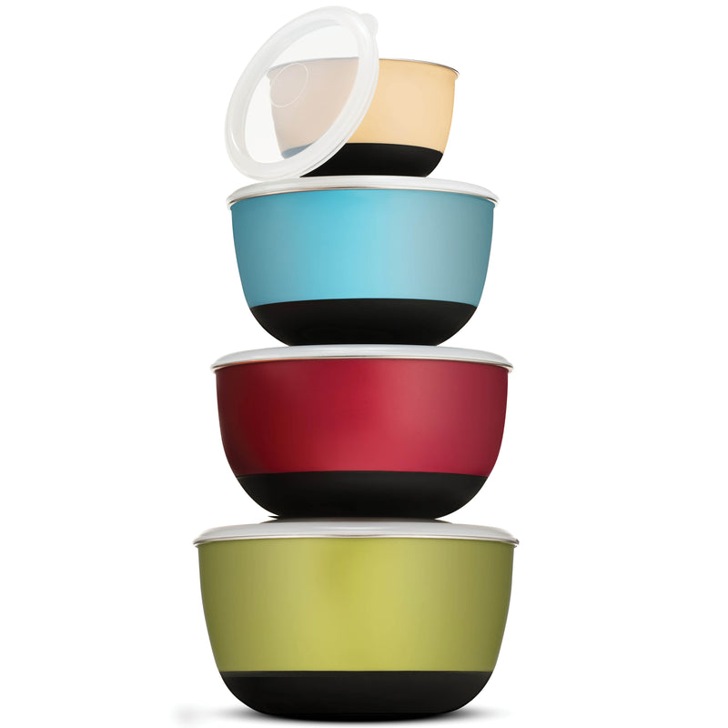 Premium Multicolor Stainless Steel Mixing Bowls with Airtight Lids (Set of 4)