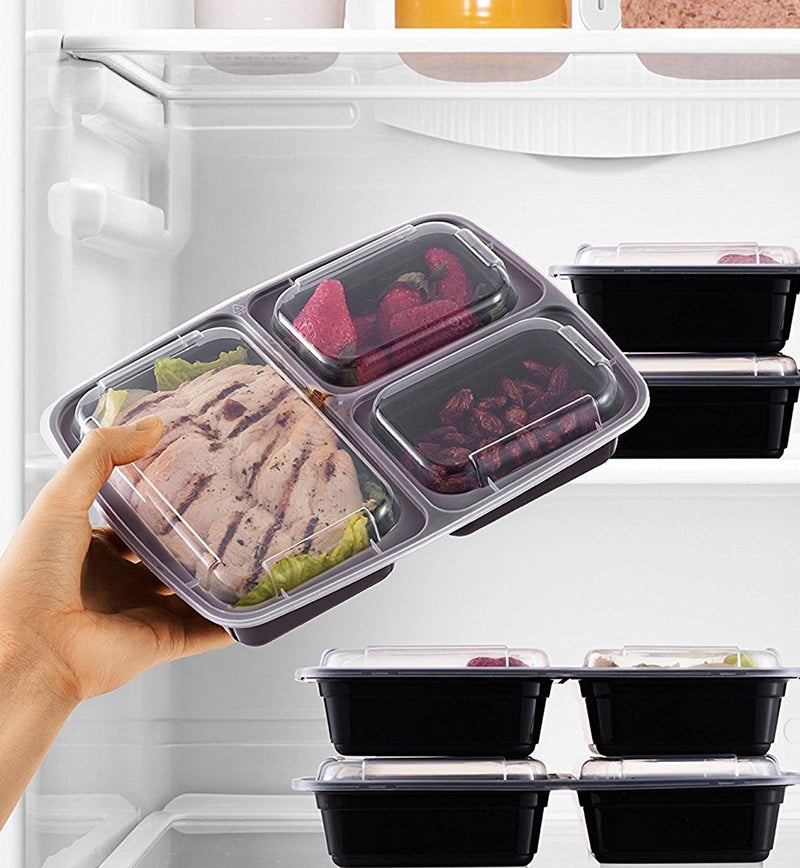 Meal Prep Lunch Containers with Easy Open Lids - (20 Pack) (3 Compartment) - Finedine | The Best And Beyond