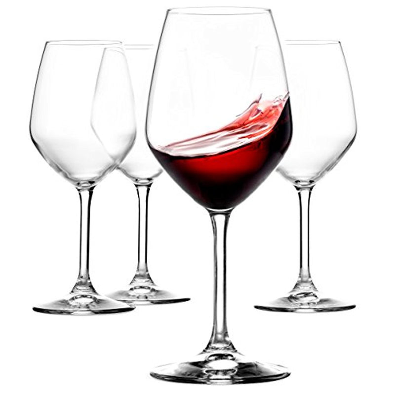 Italian Red Wine Glasses - 18 Ounce - Lead Free - Wine Glass Set of 4, Clear - Finedine | The Best And Beyond