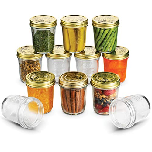 Wide Mouth Mason Jars 10 ¾ Ounce Glass Jar with Metal Airtight Lid (12 Pack) - Finedine | The Best And Beyond
